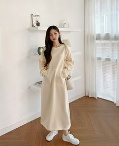 Long Skirt Fashion, Korean Fashion Dress, Asian Fashion, Modest Fashion, Fashion Dresses, Cute Modest Outfits, Trendy Outfits, Uniqlo Style, Colorful Fashion