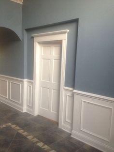 Custom trim work - New Deko Sites Hallway Colours, Wainscoting Styles, Faux Wainscoting, Dining Room Wainscoting, Hallway Designs, Hallway Ideas, Wall Molding, Moulding, Trim Work