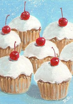 CUPCAKES And CHERRIES - Pop Art Print by Rodriguez
