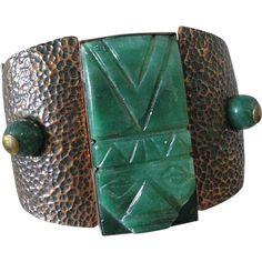 Massive MAYA MEXICO Casa Maya Handmade Mid-century Hammered Copper, Brass + Carved Art Glass PANEL BRACELET ~ 157 Grams ~ Rare Find!