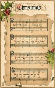 "Vintage Christmas Sheet Music | Vintage ""Hark, the Herald Angels Sing"" sheet ... 