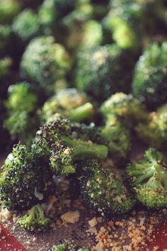 Garlic Parmesan Roasted Broccoli! This will be your new favorite way to make veggies, in fact, I make broccoli this way about 1-3 times a week! The broccoli comes out warm, salty, and the cheese gets crispy, making them the perfect alternative to french fries!