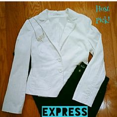 "{HP} Express Studio Stretch Blazer Express' Studio Stretch line. Bright white with subtle striped texture. Perfectly tailored with lots of stretch. 2 button closure, 2 front pockets, 4 button cuffs. In pristine condition. 21.5"" from top to bottom. 3rd photo is not color, but shows texture. Express Jackets & Coats Blazers"