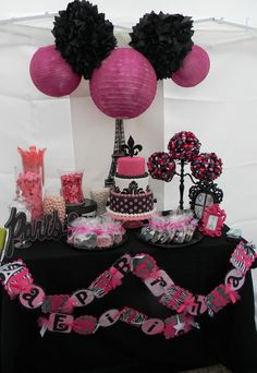 black white picnk paris.... little girl birthday party set up.... Oh I would die of happiness if the girls picked this theme!