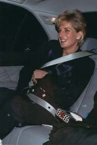 Princess Diana  ((This is such a poignant photo.  Diana always wore her seatbelt!  If it weren't for that piece of rich scumbag and his attention grabbing father, whom I believe was letting the paparazzi know every move they made. Our Diana would be with us today!!