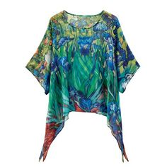 Breathtakingly beautiful. Pure, sheer silk is hand-painted with an all-over interpretation of Van Gogh's 'Irises' (1889). Lighterthan-air tunic has a ballet neck and 3/4-length sleeves. Hangs 27', longer on the sides. Sizes S/M(6-10), L/XL(12-16). Hand wash. Imported.