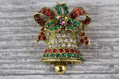 Multi Coloured Rhinestone Crystal Christmas Bell Gold Pin Brooch