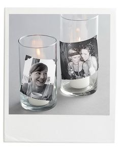 Light up faces with candid candles as your centerpiece. Use photo corners to secure snapshots to the outside of glass candleholders.