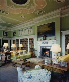 Library of Mellerstain, Gordon, Scotland. Designed by Robert Adams. 1920s Architecture, Marble Bust, Adam Style, Beautiful Library, Georgian Homes, Home Libraries, Architect House, Library Books, Beautiful Interiors