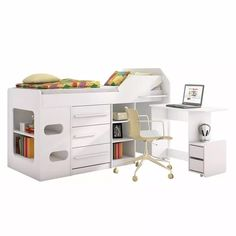 cama de juvenil c/ gaveta, nichos, escrivaninha sleep branco