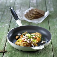 Omelet med muslinger og rejer