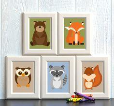 Woodland Animal Nursery Print Set of 5x7 Prints - FREE SHIPPING on Etsy, $24.95