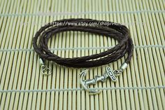 Anchor BraceletSilver Alloy Anchor And Brown by HandmadeTribe, $6.00