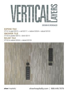 Expose Tile 5T151 in color past 50515, veil 50111, restore 50504, and natural 50103 | Uncover Tile 5T150 in color pewter 50515 and birch 50111 | Relief Tile 5T152 in color restore 50504 and natural 50103