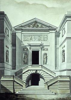 Design for the entrance of a proposed hotel particulier, Paris Architecture Romane, Architecture Baroque, Architecture Classique, Architecture Mapping, Neoclassical Architecture, Chinese Architecture, Architecture Drawings, Historical Architecture, Ancient Architecture