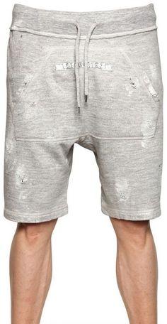 Distressed Cotton Fleece Jogging Shorts - Lyst