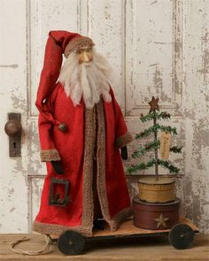 This is a new Santa doll that is made to look old. Christmas Elf Doll, Prim Christmas, Father Christmas, Country Christmas, Vintage Christmas, Christmas Ideas, Christmas Crafts, Vintage Halloween, White Christmas
