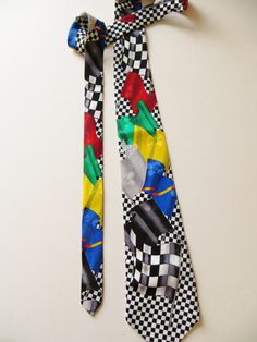 Car Race Flag Necktie, Checkered Racing Flags, Novelty Necktie, Gift for Him, Car Racing Fan by TomCatBazaar on Etsy