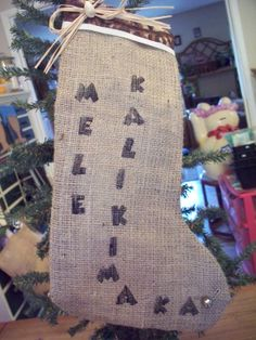 Tapa and burlap stocking hand stamped Mele by LetuliCreations All Christmas items 50% off if purchased by 9/1/2014!