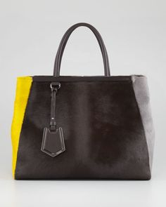 2Jours Calf Hair Tote Bag, Brown/Yellow/Iron by Fendi at Neiman Marcus.