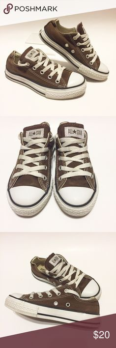 Youth Converse Brown Sneakers Canvas Size 12 EUC Excellent used condition brown canvas Converse! You can't hardly even tell that these shoes have been worn. So great and functional, Converse are definitely my favorite shoe for kids. Youth size 12 from Converse Converse Shoes