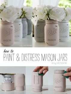 Chalk Painted Mason Jars: Detailed Tutorial on How To Paint & Distress Mason Jars (Jar Diy Ideas) Chalk Paint Mason Jars, Painted Mason Jars, Mason Jar Painting, Chalkboard Mason Jars, Painted Bottles, Mason Jar Projects, Mason Jar Crafts, Crafts With Jars, Pot Mason Diy