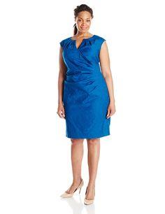 Adrianna Papell Women's Plus-Size Faux Wrap Pleats Sheath -- Unbelievable  item right here! : Plus size dresses