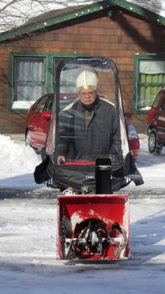 In honor of the Pope retirement, for limited time you can get the Popemobile snow thrower.  Snow, cars, house, and grumpy old man not included.