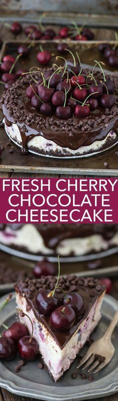 Fresh chocolate cherry cheesecake recipe with a chocolate crust, fresh cherries baked into the cheesecake, dripping with ganache.