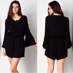 "5⭐️ BUYER RATED⭐️LACE UP BELL SLEEVE BLACK ROMPER Lace up, bell sleeve, black romper with zipper down the back, by April Spirit. 5⭐️Buyer Rated⭐️Lightweight and lined on the shorts with pockets. Although it's light weight, it is not see-through. Size Medium and the last medium in stock; waist: 28"" and stretches to 44"", 31"" length 38"" bust. Price is firm unless bundled with other items from our closet. No trades and we are a smoke free animal love home. Thank you for stopping by…"