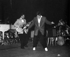 Scotty, Elvis, DJ and Bill onstage at the Olympia - Aug 3, 1956 Miami News Photo by Don Wright and Charles Trainor