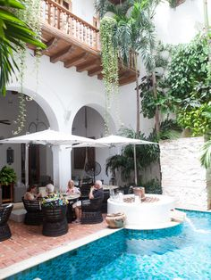 Poolside at Casa San Augustin, Cartagena, Colombia.
