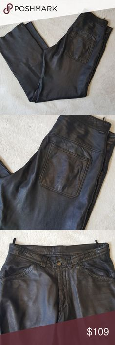 Vintage Men's black leather pants Release that inner rock star. Perfect for riding your motorcycle or hitting up that classic rock concert. Country Field Trucker Leather EUC minus minor scuffs at the bottom back of both legs as shown in photos above. Classic jeans style, boot cut. Waist is 32, inseam is 33. All measurements are lay flat and approximate. Country Field Trucker Leather Pants