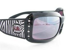 South Carolina Gamecocks NCAA Women's Rhinestone Black Zebra Print Sunglasses