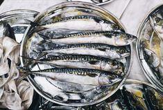 """BEN SCHONZEIT, Mackerel, 1973. Acrylic on Canvas, 48"""" X 72"""""""