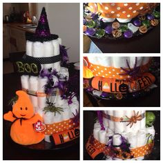 Halloween shower diaper cake! Made by me and my talented mother!