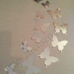 3d vlinders chroom spiegel effect wanddecoratie