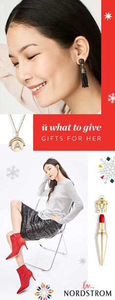 A sparkling initial necklace, velvety matte lip colour, tassel drop earrings and bright red booties are just a few of the gifts that will delight her this holiday season. Discover gifts for everyone on your list at Nordstrom.