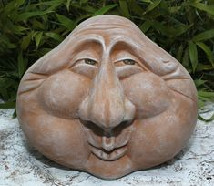 Stone Face Head Ornament Garden Figurine Decoration Cast Frost Resistant for sale online Art Sculpture, Sculptures, Pierre Decorative, Garden Figurines, Clay Faces, Wooden Art, Green Man, Skull Art, Zbrush