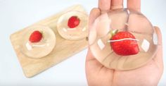 raindrop cake 2 cups of water 1/4 teaspoon of agar agar 1/4 teaspoon of sugar 1/2 sphere mold to shape your raindrop cakes Berries if desired. Honey or maple syrup to drizzle with. boil water, add agar and sugar.  put in mold, put in fruit, put more on top.  refrigerate.  drizzle with honey