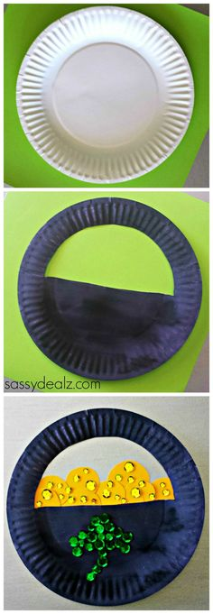 Paper Plate Pot of Gold craft idea for kids! Great for a St. Patricks day art project #DIY | http://www.sassydealz.com/2014/02/paper-plate-pot-gold-craft-st-patricks-day.html