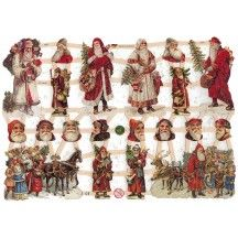 Victorian Santa Christmas Scraps with Glitter ~ Germany