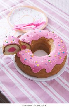 Giant Donut Cake! Learn how to make this adorable, sprinkle-coated, giant donut ca