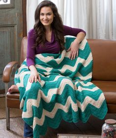 Chic Chevron Throw Free Crochet Pattern from Red Heart Yarns