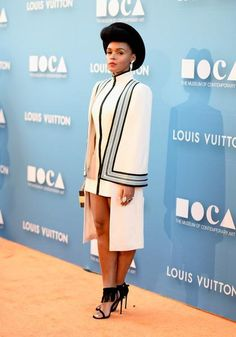Look of the Day: Janelle Monae's Structural Ensemble Star Fashion, Fashion Show, Fashion 2020, Fashion Trends, Xhosa Attire, Short African Dresses, Striped Two Piece, White Outfits, Work Attire