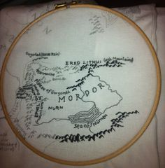Hand Embroidered Map of Middle Earth ~ I'm going to do it. I'm going to take on this arduous project because that's how much I LOVE this!
