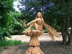 Simon O'Rourke Tree Carving by aida Tree Sculpture, Art Sculptures, Tree Carving, Wood Creations, Wooden Art, Green Man, Tree Art, Dream Garden, Wood Crafts