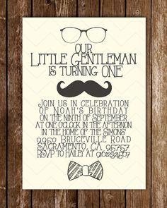 Little Gentleman birthday invitation by scribblesandswatches, $14.00