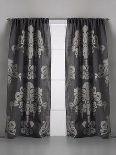 Couture Dreams Enchantiqe Slate Grey Jute Window Curtain