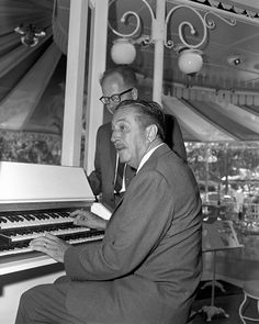 Walt Disney Playing Electric Organ at Carnation Plaza Gardens at Disneyland Park